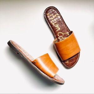 SAM EDELMAN Gio Carmel Brown Leather Slides Sandal